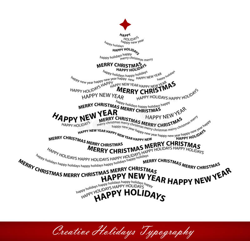 Christmas tree shape from words vector illustration