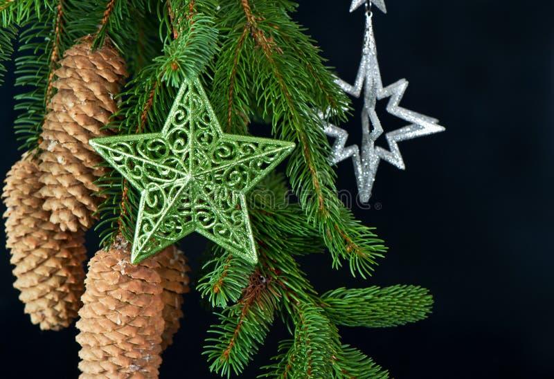 Christmas tree with shiny stars decoration stock photo