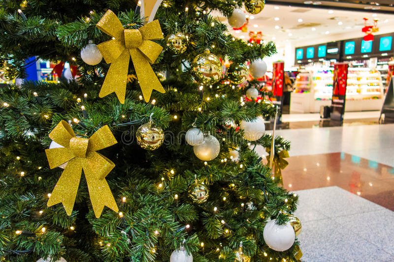 Christmas tree. At the shopping mall royalty free stock images