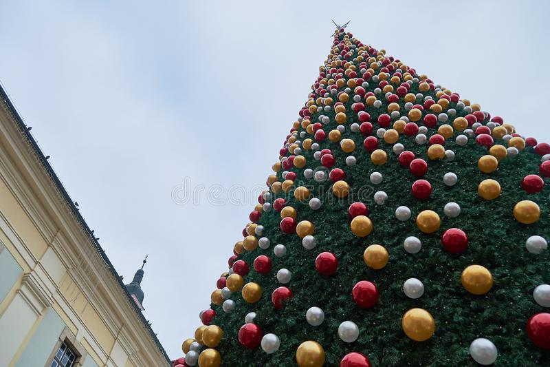 Christmas tree at Sibiu Christmas Market 2019, during the day.  royalty free stock photos