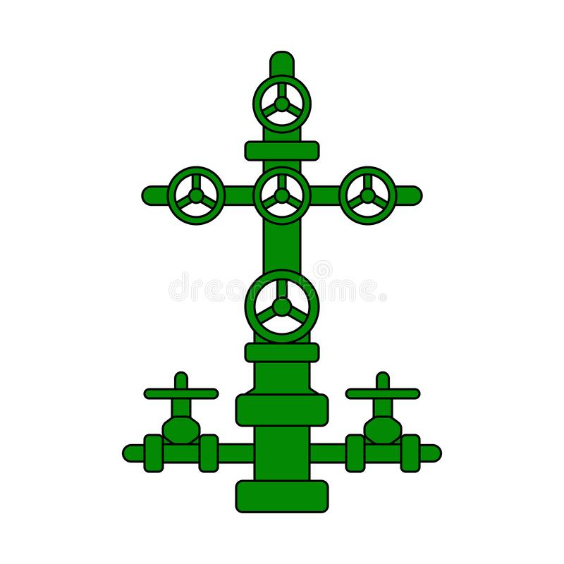 Christmas tree sign for oil and gas wells; green flat vector wellhead icon for petroleum industry royalty free illustration