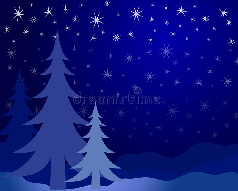 Christmas Tree Silhouette 2. A clip art illustration of blue Christmas tree silhouettes and snowflakes falling at night stock illustration