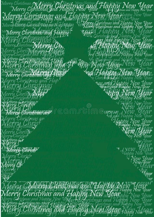 Christmas tree silhouette. Color illustration of christmas tree silhouette and words stock illustration