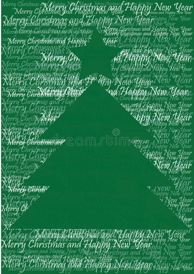 Christmas tree silhouette of words. Green and white winter illustration of christmas tree with star vector illustration