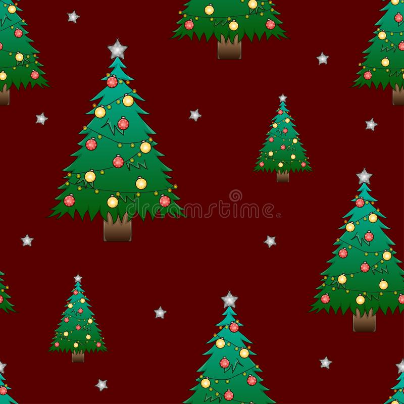 Christmas Tree and Silver Star on Dark Red Background. Vector Illustration.  stock illustration