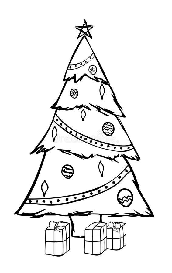 Christmas tree sketch stock illustration
