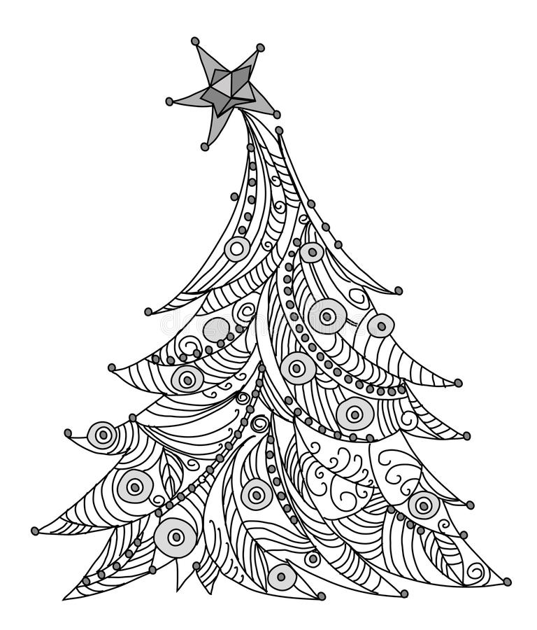 sketch of christmas tree christmas tree sketch kid s dreams stock illustration 7384