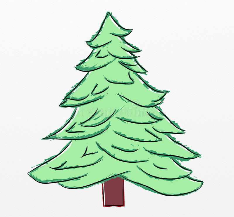 sketch of christmas tree christmas tree sketch stock illustration illustration of 7384