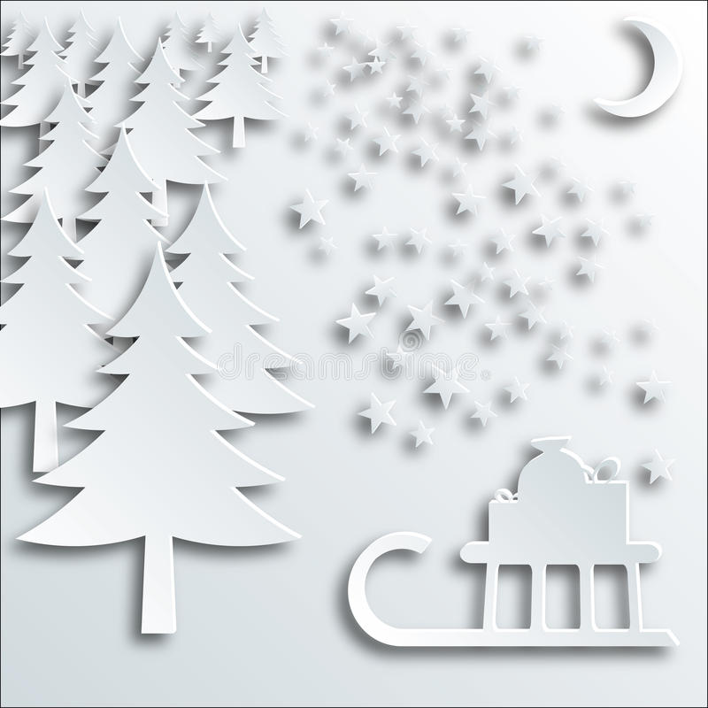 Christmas tree, sleigh with gifts, stars and cresc vector illustration