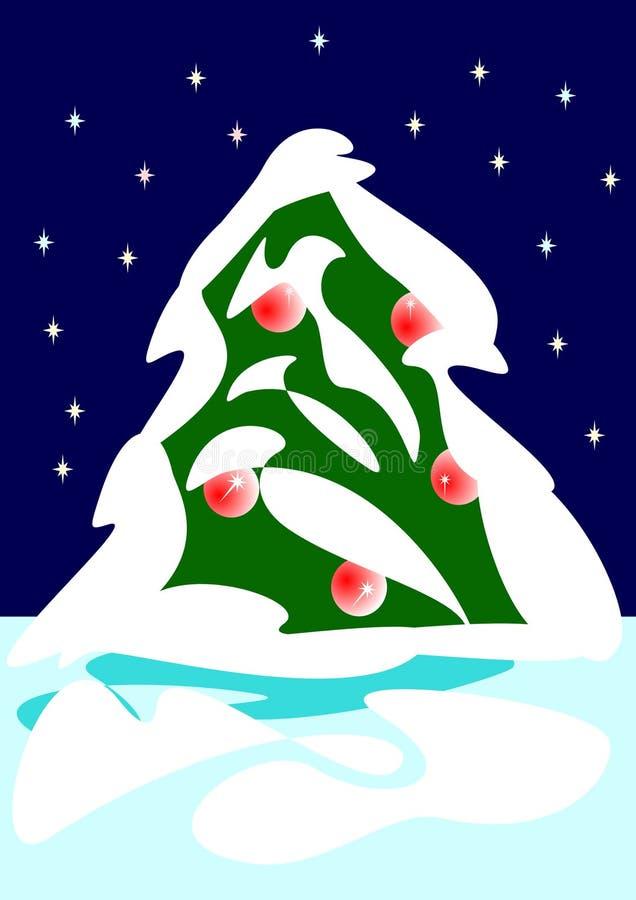 Christmas tree and snow royalty free stock photo