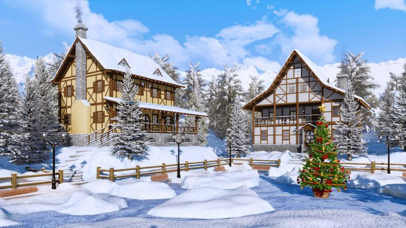 Christmas tree on snow covered alpine town square stock illustration