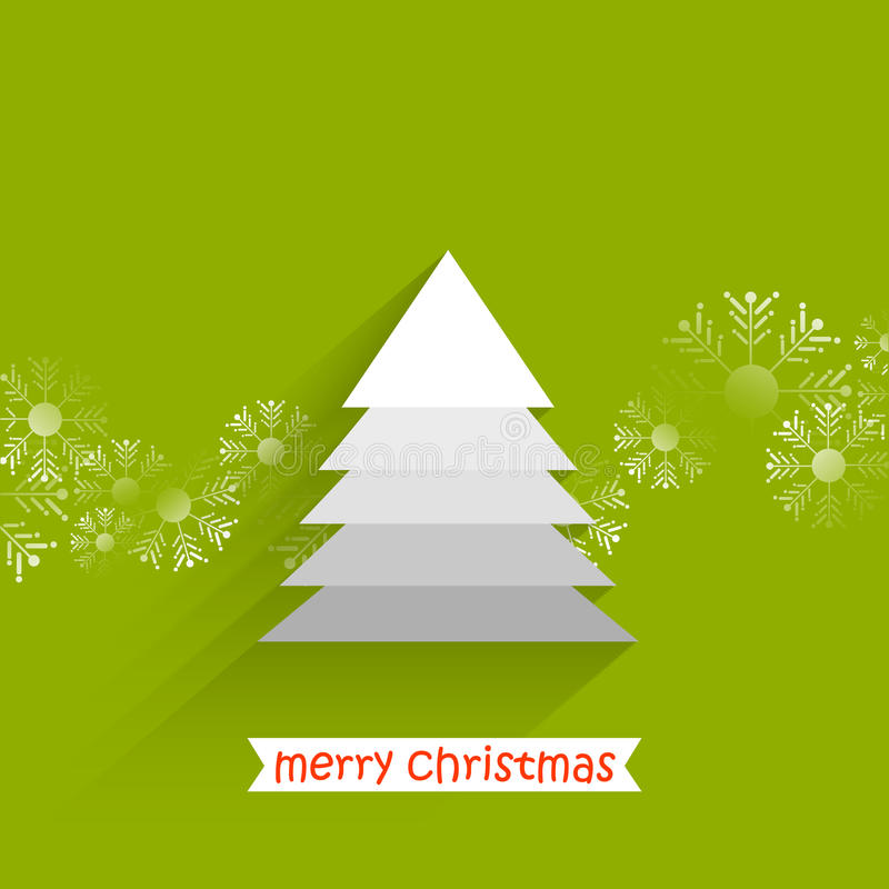Christmas tree with snow flakes. White layered Christmas tree with snow flakes and green background royalty free illustration