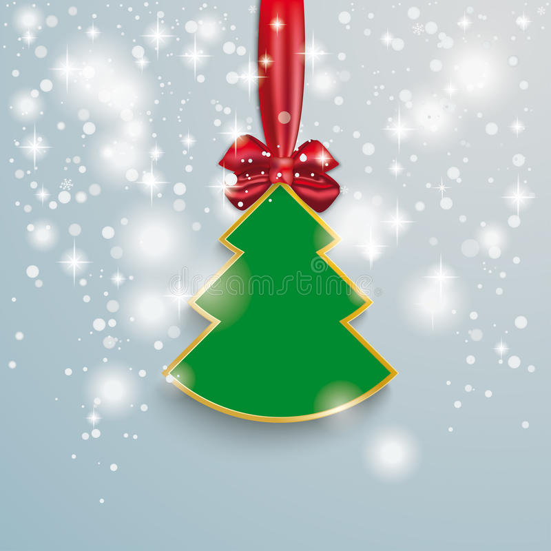 Christmas Tree With Red Ribbon: Christmas Tree Snow Lights Red Ribbon Stock Illustration