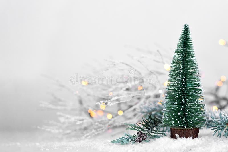 Christmas tree in the snow royalty free stock photos