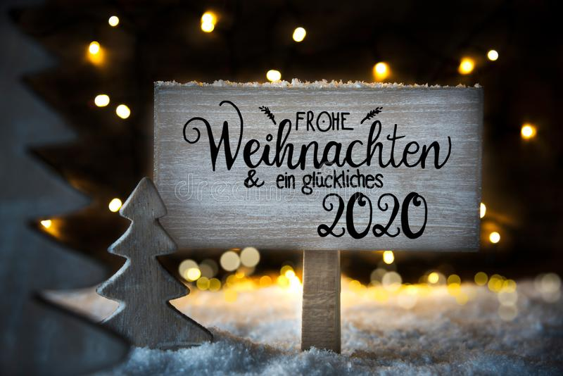Christmas Tree, Snow, Sign, Calligraphy Glueckliches 2020 Means Happy 2020 royalty free illustration