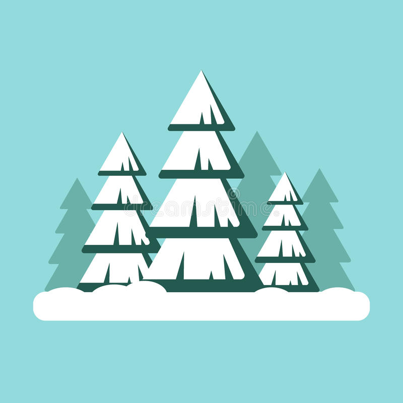 Christmas tree with snow. Snowy forest landscape - vector illustration. Happy new year, xmas. royalty free illustration