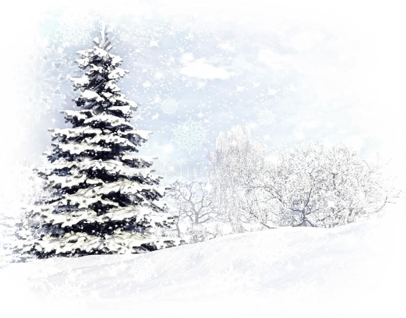 Christmas tree after a snow storm blizzard. royalty free illustration