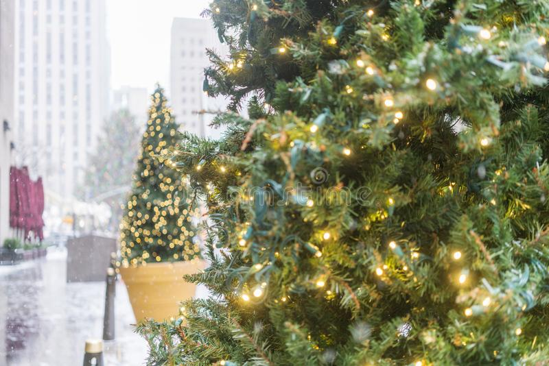 Christmas tree with snow on the streets of new york. stock photography