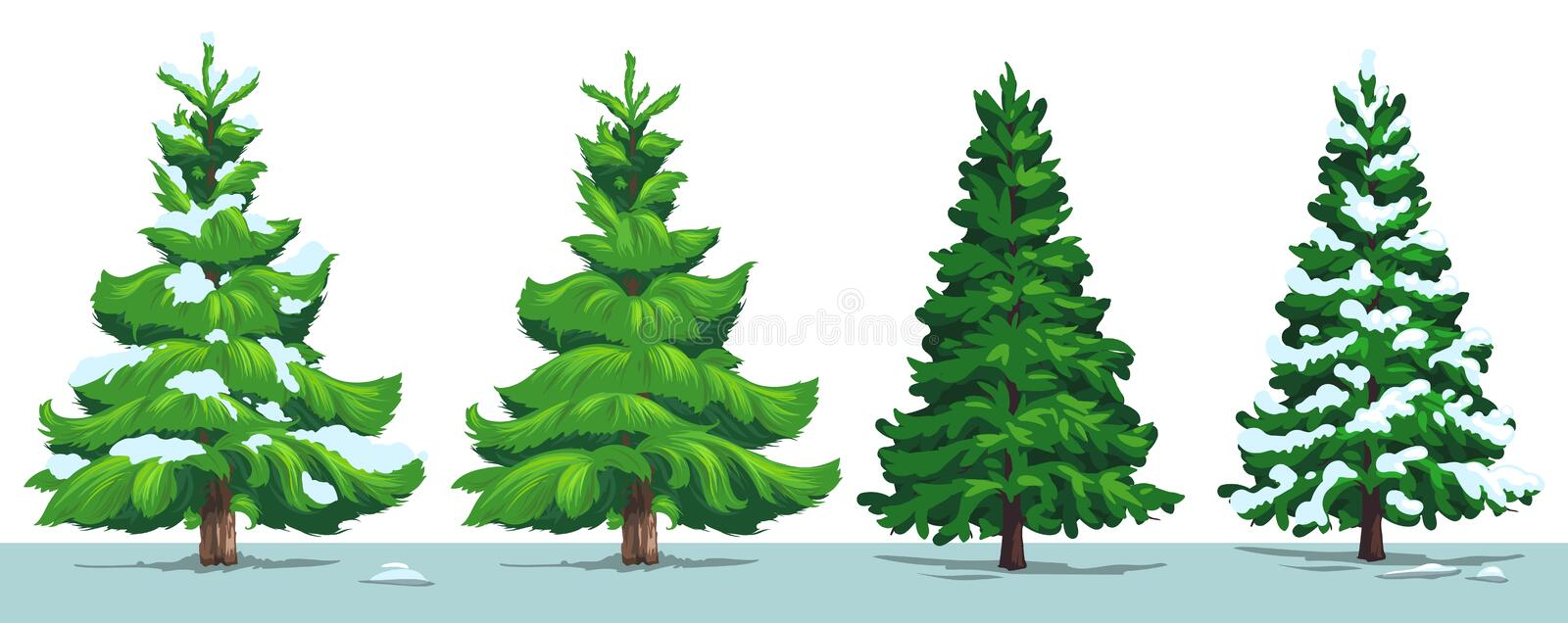 Christmas tree, green fir, pine, spruce with snow stock illustration
