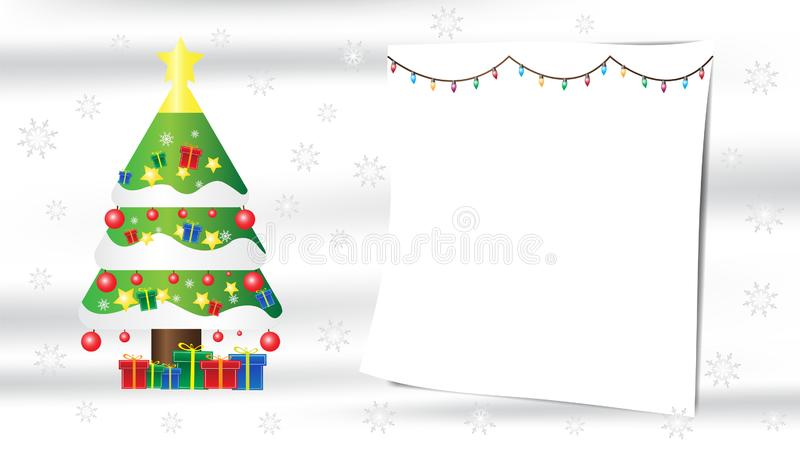 Christmas tree snowflake gift composition on white silk background with copy space for your text. Christmas tree snowflake gift composition on white silk vector illustration