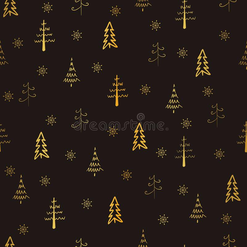Christmas tree and snowflake vector seamless, repeat pattern. Gold trees and snowflakes on brown background. Doodle trees, hand dr vector illustration