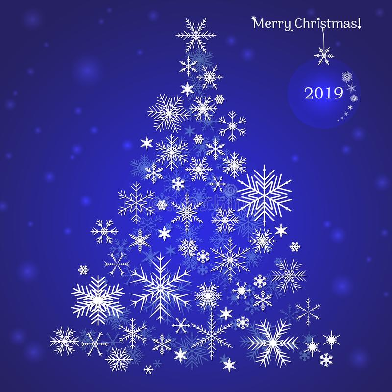 Christmas tree of snowflakes. Christmas card for the year 2019 stock photography