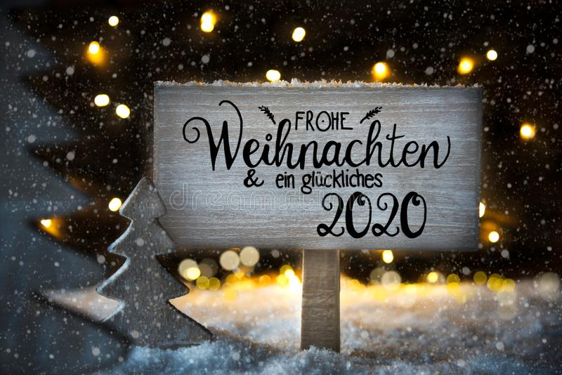 Christmas Tree, Snowflakes, Sign, Calligraphy Glueckliches 2020 Means Happy 2020 vector illustration