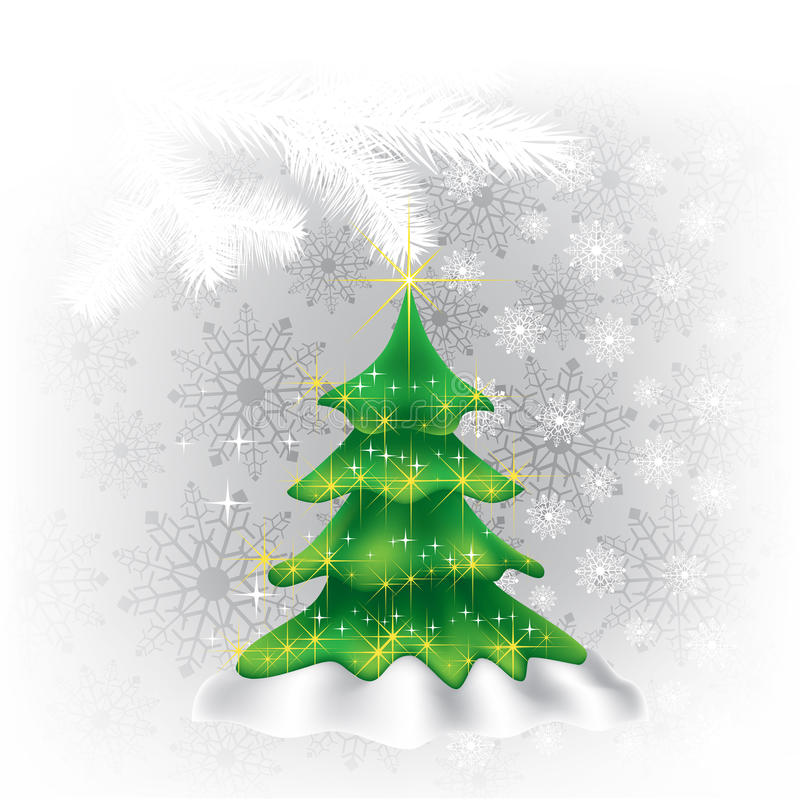 Christmas tree and snowflakes on a white stock illustration
