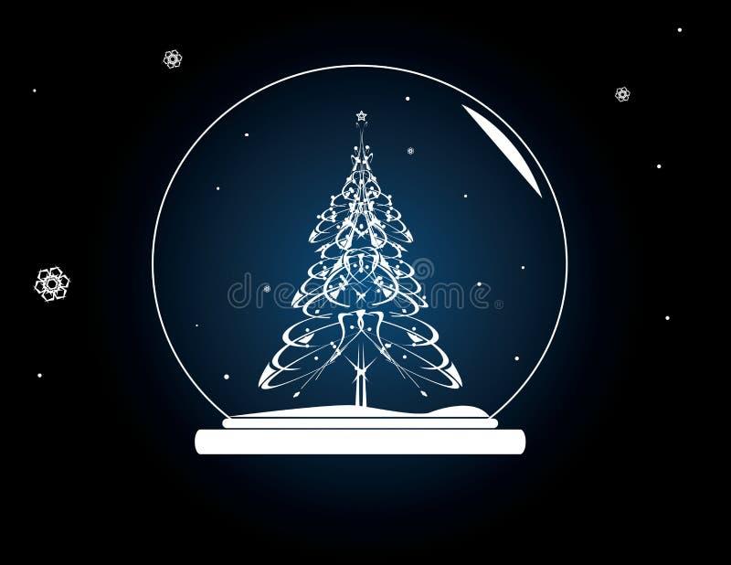 Christmas tree snowglobe royalty free illustration