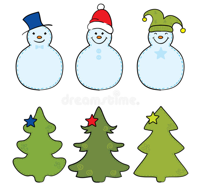 Download Christmas tree and snowman stock vector. Illustration of jolly - 15467534