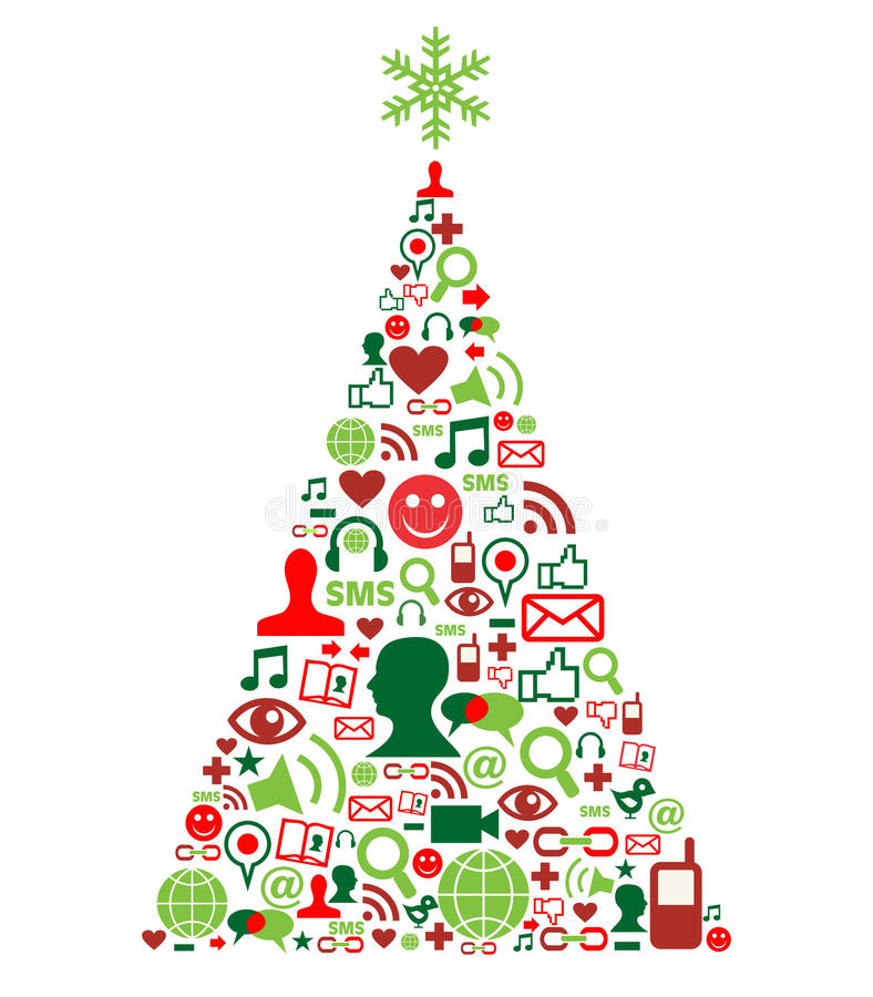 Christmas tree with social media icons. Christmas tree shape made with social media icons set