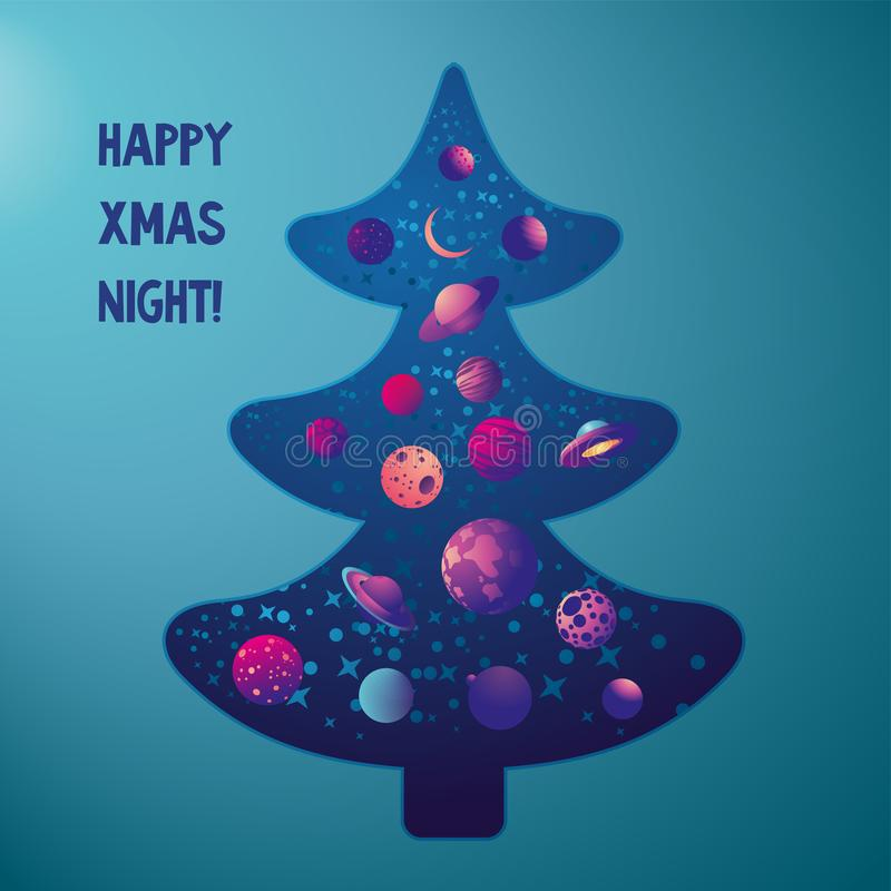 Christmas tree with space, stars and planet inside. Vector greeting card.Unusual decoration vector illustration