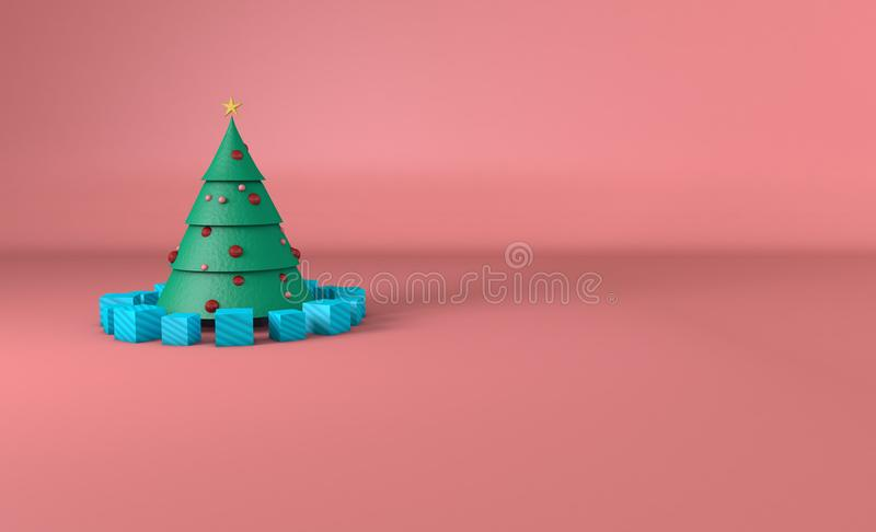 Christmas Tree with spheres and pink background royalty free stock image