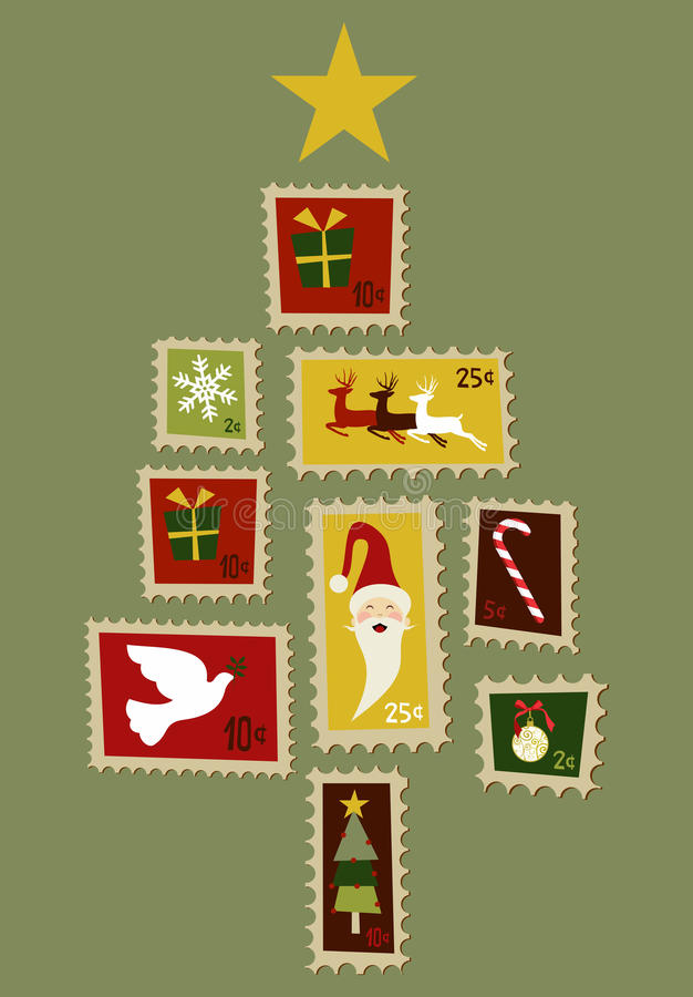 Christmas tree stamp. royalty free stock images