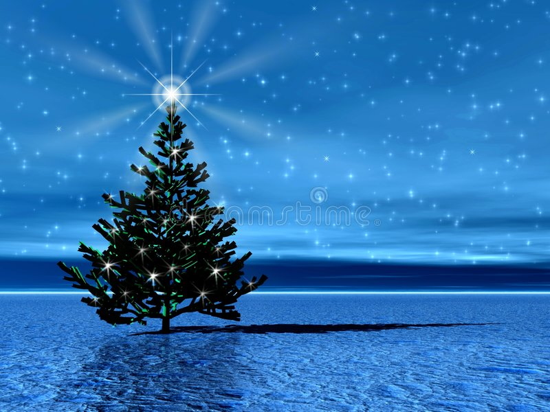 Christmas tree. Star. Lonely Christmas tree in arctic with star and snow