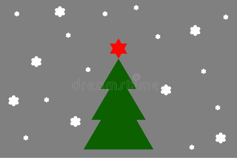 Christmas tree with star in grey background royalty free stock photography