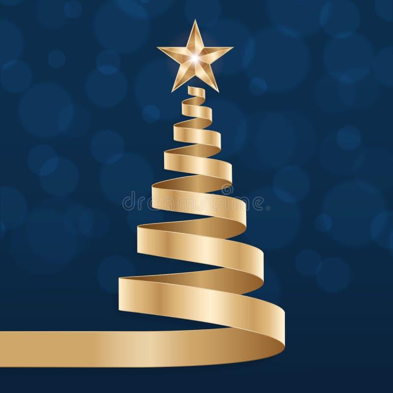 Free Christmas Tree Stars Greetings Golden Blue Background Stock Photo - 199381490