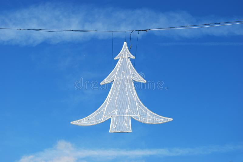 Christmas Tree Street Light Decoration Stock Image
