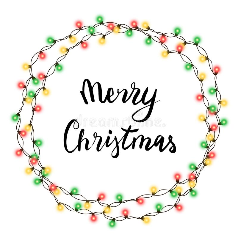 Christmas tree string garland in circle shape and lettering isolated on white background. Realistic Christmas, New Year party deco. Rations with transparency stock illustration
