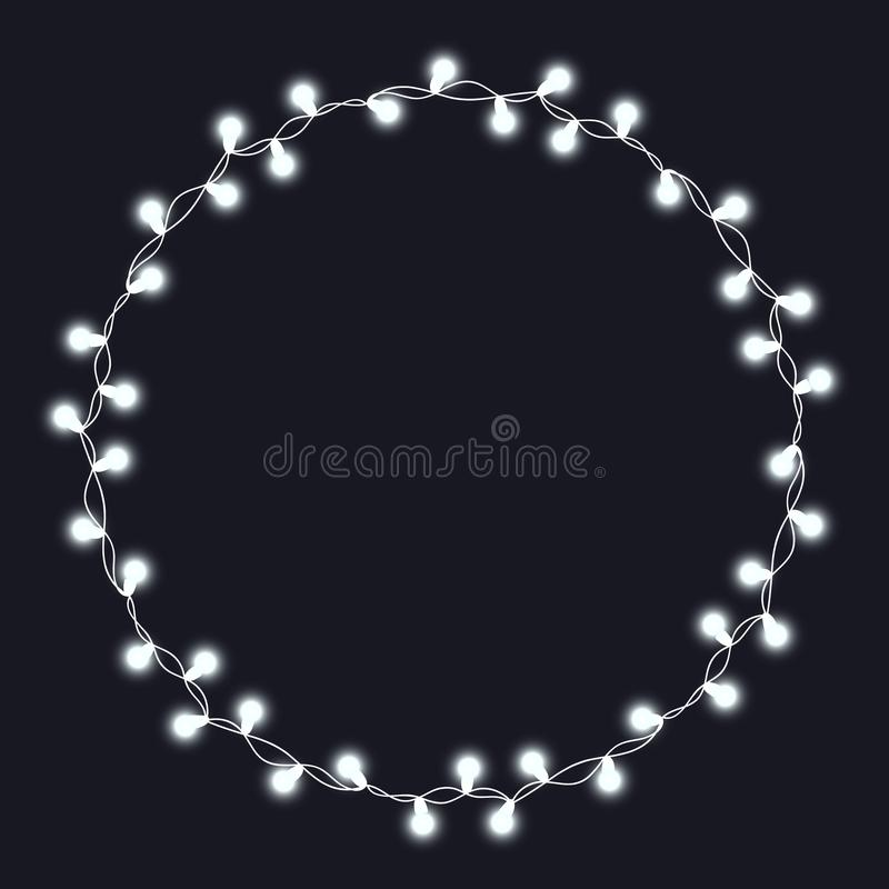 Christmas tree string garland in circle shape and lettering isolated on white background. Realistic Christmas, New Year party deco. Christmas tree string garland vector illustration