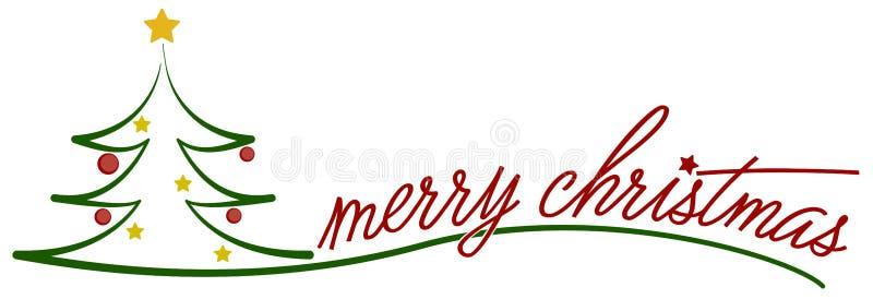 Merry christmas tree symbol. Christmas tree symbol illustration with words merry christmas royalty free illustration
