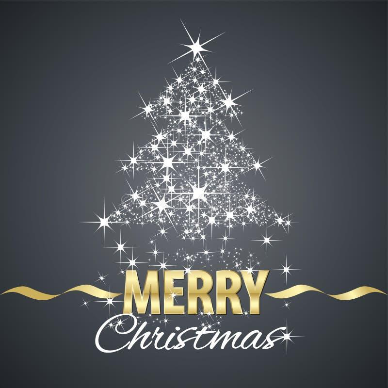 Christmas tree symbol stardust black background vector illustration