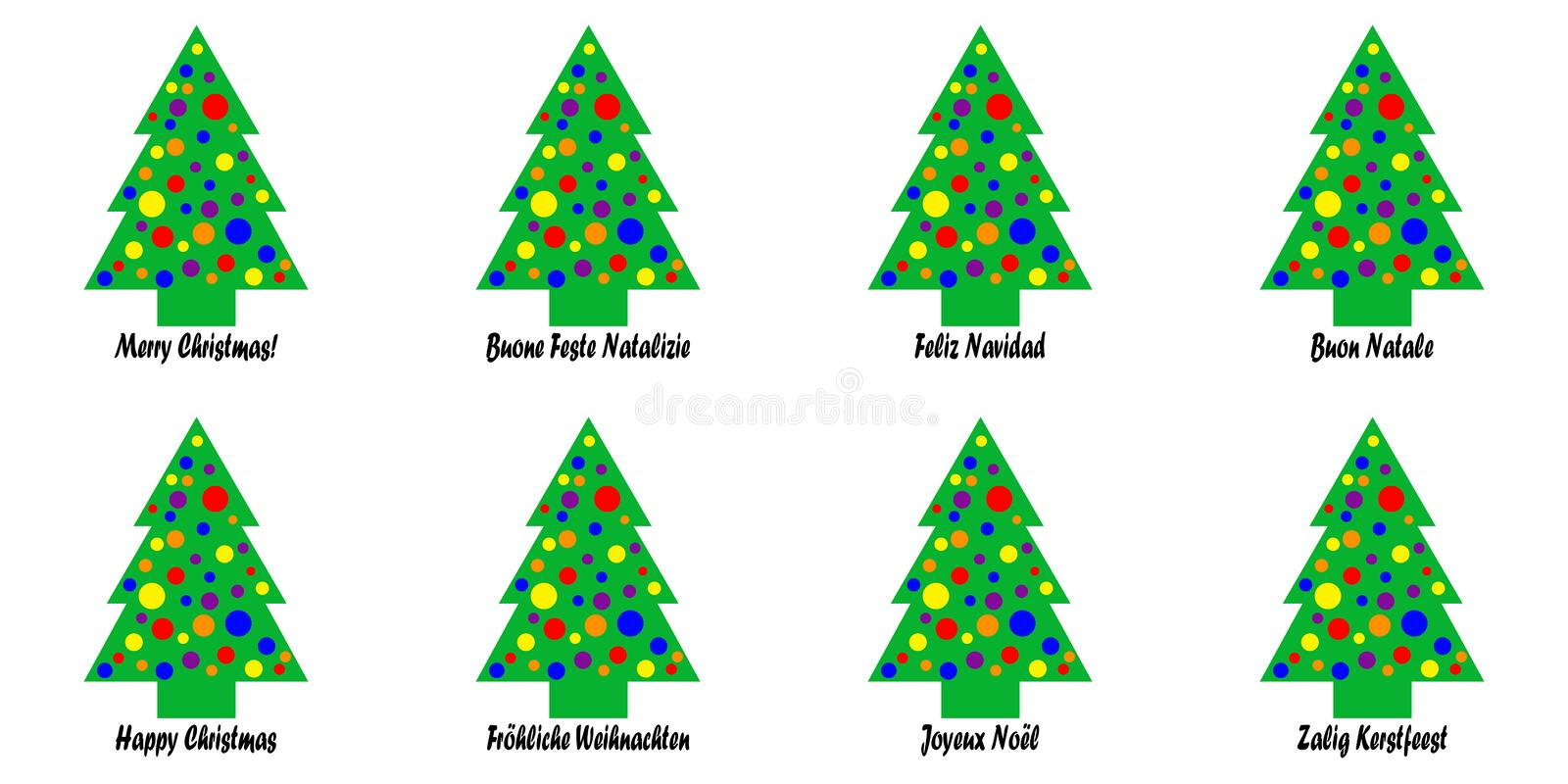 Christmas Tree Tags or Stickers. Whimsical Christmas tree tags with a Christmas greeting in various languages; languages include English, Italian, French, German royalty free illustration