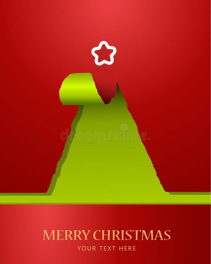 Christmas Tree Of Teared Paper. Stock Photo