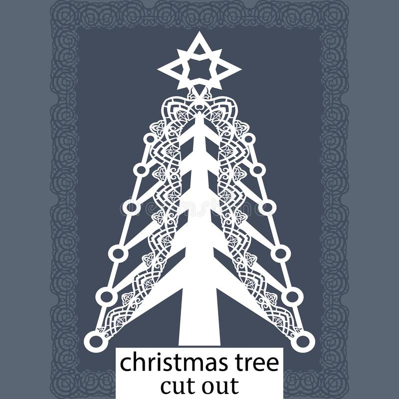 Christmas tree - a template for laser cutting. Design element for a Christmas and New Year, invitation or greeting card. Can be c vector illustration