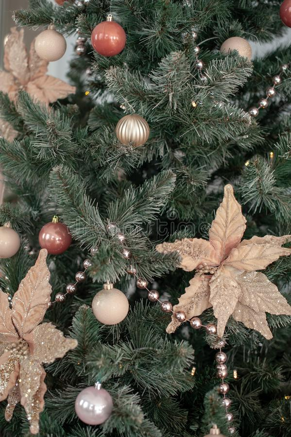 Christmas tree with terracotta decorations royalty free stock photography