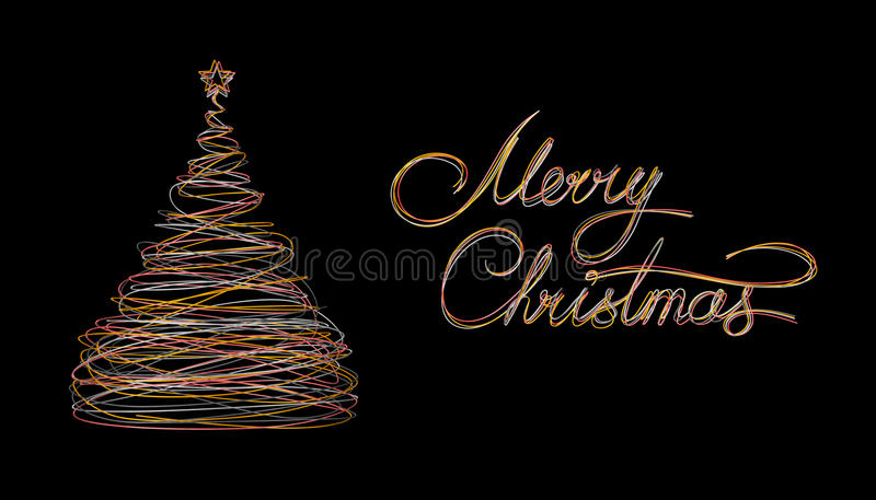 Christmas Tree And Text Marry Christmas Made Of Gold, White, Grey And Pink Wire On Black Background. stock illustration