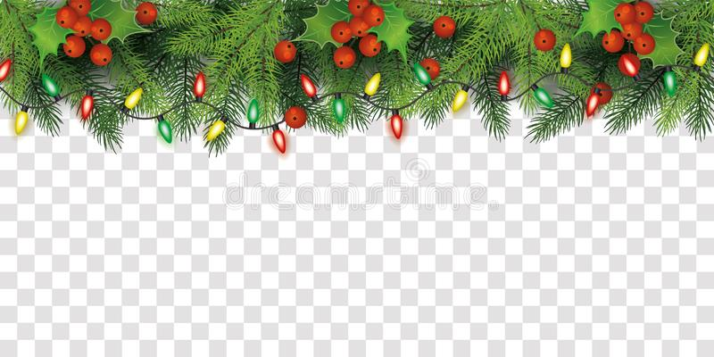 Christmas tree top border decoration with red holly berries and fairy lights. Isolated on transparent background - colorful festive line frame vector royalty free illustration
