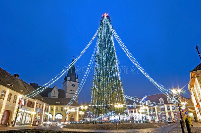 Christmas tree in town stock images