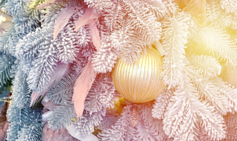 Christmas tree toy decorations and snow-covered Christmas tree branches. With sun, sunny day, sun rays, sunny spot. Winter Christmas New Year background royalty free stock photography